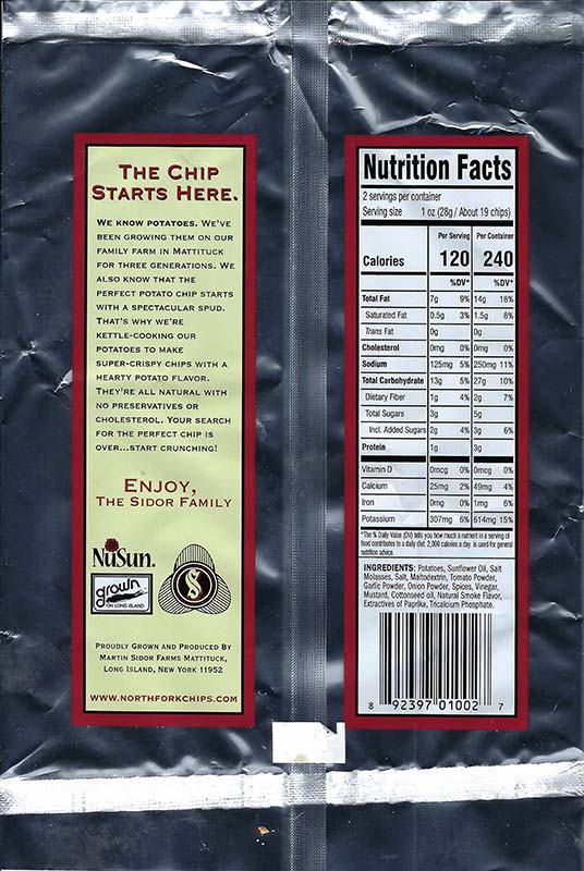 Barbeque Nutritional Facts 2oz Bags