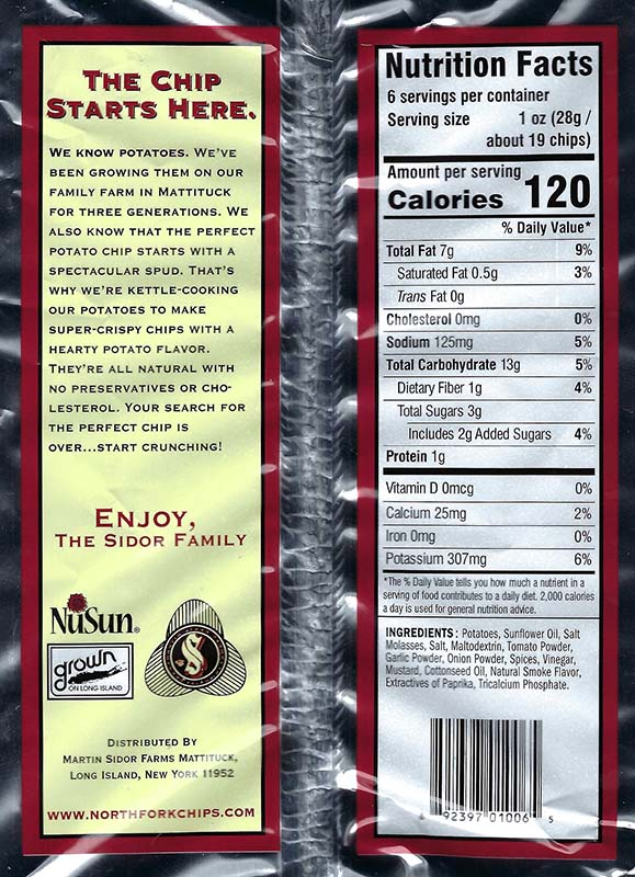 Barbeque Nutritional Facts 6oz Bags