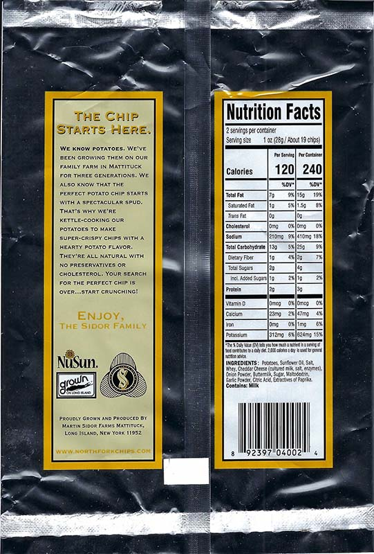 Cheddar and Onion Nutritional Facts 2oz Bags
