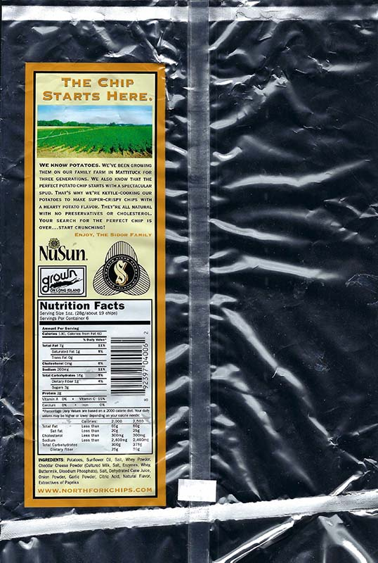 Cheddar and Onion Nutritional Facts 6oz Bags