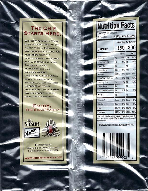 Original Plain Nutritional Facts 2oz Bags