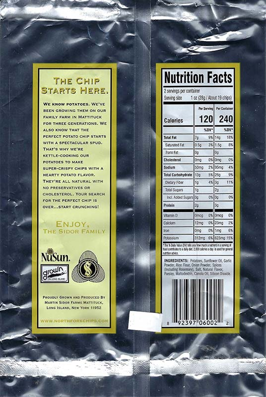 Rosemary and Garlic Nutritional Facts 2oz Bags