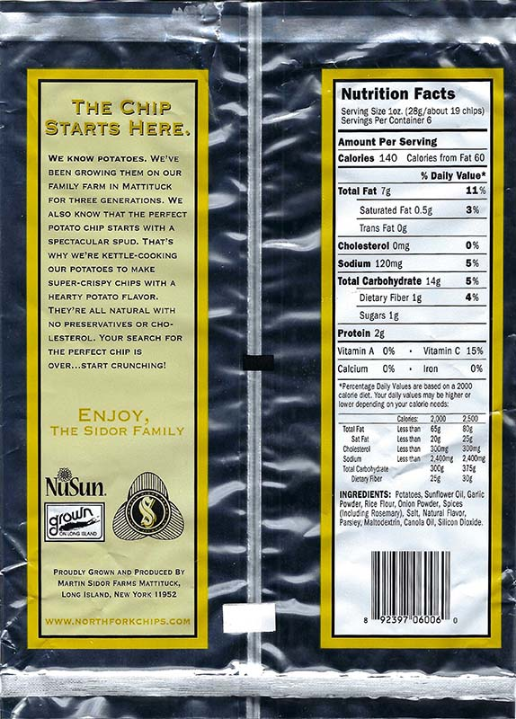 Rosemary and Garlic Nutritional Facts 6oz Bags