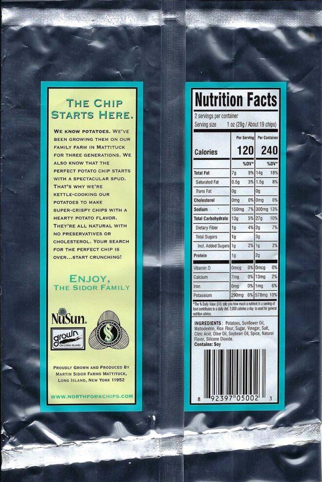 Salt and Vinegar Nutritional Facts 2oz Bags