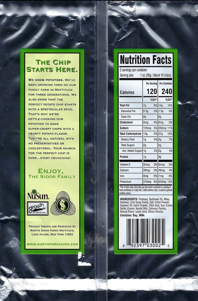 Sour Cream and Onion Nutritional Facts 2oz Bags