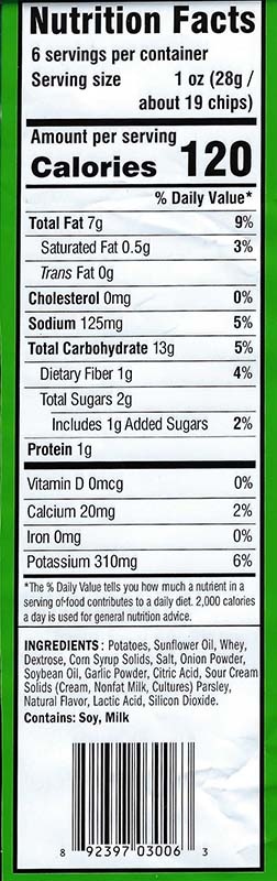 Sour Cream and Onion Nutritional Facts 6oz Bags