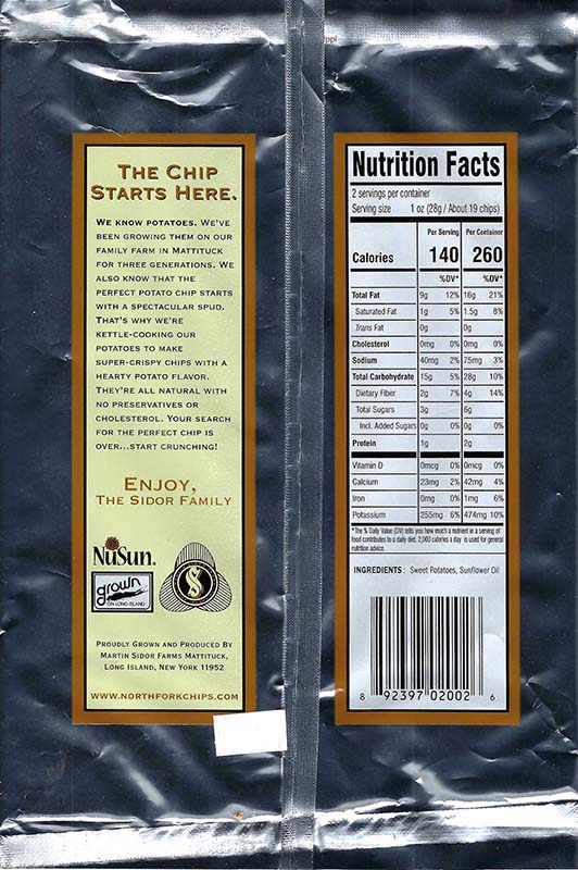 Sweet Potato Nutritional Facts 2oz Bags