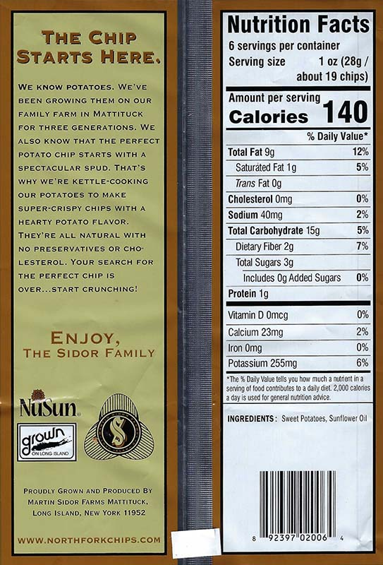Sweet Potato Nutritional Facts 6oz Bags